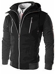 cheap -Men's Dailywear Date Classic Fall/Autumn Jacket,Solid Solid Color Hooded Long Sleeve Regular N/A