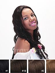 Недорогие -Натуральные волосы Лента спереди Парик Волнистый 130% плотность 100% ручная работа Парик в афро-американском стиле Природные волосы