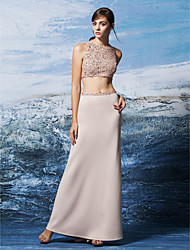 Sheath / Column Jewel Neck Floor Length Sequined Jersey Prom Formal Evening Dress with Sequins by TS Couture®