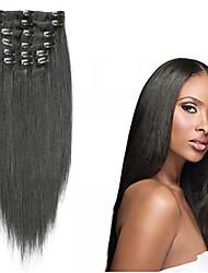 Недорогие -На клипсе Расширения человеческих волос Прямой Натуральные волосы Черный как смоль