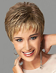cheap -Synthetic Wig Wavy With Bangs Synthetic Hair Side Part / With Bangs Blonde Wig Women's Short Natural Wigs Capless