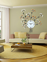 cheap -Modern/Contemporary Floral/Botanicals Wall Clock,Round Iron Indoor Clock