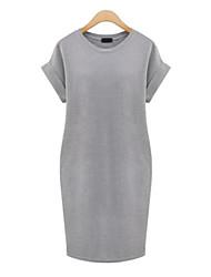 cheap -Women's  Casual Sexy Cute Plus Sizes  Knee-length Short Sleeve Dress (Cotton)