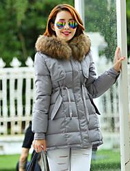 Cappotto Da donna Piumino Casual / Taglie forti Manica lunga Con piume