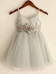 A-Line Knee Length Flower Girl Dress - Satin Tulle Sequined Sleeveless Spaghetti Straps with Sequin by thstylee