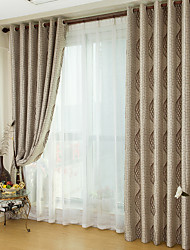 Rod Pocket Grommet Top Tab Top Double Pleat Two Panels Curtain Country , Jacquard Stripe Living Room Polyester Material Blackout Curtains