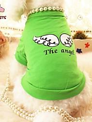 baratos -Gato Cachorro Camiseta Roupas para Cães Anjo e Diabo Roxo Verde Algodão Ocasiões Especiais Para animais de estimação Fantasias Casamento