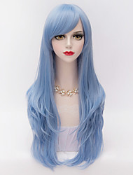 cheap -Synthetic Hair Wigs Curly Layered Haircut With Bangs Capless Carnival Wig Halloween Wig Long Blue