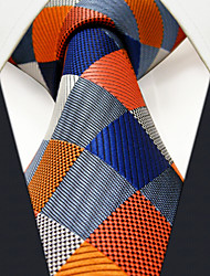 M17  Men Neckties Navy Multicolor Checked 100% Silk Dress Casual For Men