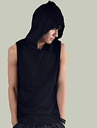 cheap -Men's Solid Casual Sport Style Hooded Tank Tops,Cotton Sleeveless-Black / White Summer Men's Fashion Comfortable Clothing