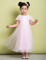 A-Line Ankle Length Flower Girl Dress - Lace Tulle Short Sleeves Jewel Neck with Lace by LAN TING BRIDE®