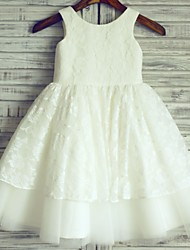 cheap -Princess Knee Length Flower Girl Dress - Lace Satin Tulle Sleeveless Scoop Neck with Lace by LAN TING BRIDE®