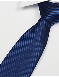 cheap -Men's Silk Cotton Acrylic Necktie,Vintage Cute Party Work Casual Striped All Seasons Royal Blue