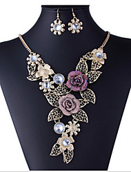 cheap -Women's Rhinestone / Imitation Diamond / Rose Gold Plated Floral Flower Jewelry Set Earrings / Necklace - Floral / Luxury / Flower Style