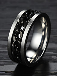 cheap -Men's Band Ring - Titanium Steel, Gold Plated Fashion 7 / 8 / 9 Black / Golden For Christmas Gifts / Party / Daily