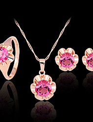 abordables -Femme Ensemble de bijoux Set de Bijoux - Zircon, Imitation Diamant, Plaqué Or Rose Or, Fuchsia