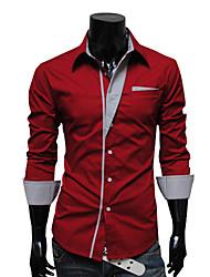 MEN - Camicie casual - Informale/Lavoro A camicia - Maniche lunghe Acrilico/Cotone organicp/Raion