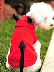 abordables -Gato Perro Disfraces Saco y Capucha Ropa para Perro Vampiros Rojo Lana Polar Disfraz Para mascotas Hombre Mujer Bonito Cosplay Halloween
