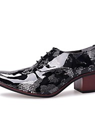 cheap -Men's Shoes Real Leather Spring Fall Novelty Oxfords Split Joint For Casual Black/Blue Black/Red Black/Silver Black/Gold