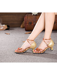 Women's Dance Shoes Latin/Samba Satin/Sparkling Glitter/Paillette/Synthetic Cuban Heel Black/Red/Gold/
