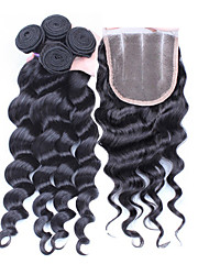 cheap -4Pcs/Lot 10''-30'' Peruvian Virgin Hair Loose Wave Hair Closure with Wefts Peruvian Loose Wave Hair Bundles