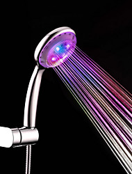 Contemporary A Grade ABS Chrome Finish 7 Colors LED Shower Hand - Silver