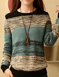 Normal Pullover FemmeCouleur Pleine Vert Orange Col Arrondi Manches Longues Printemps Moyen Micro-élastique
