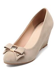 cheap -Women's Shoes Faux Suede Fall / Winter Wedge Heel Bowknot Beige / Fuchsia / Blue / Dress