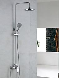 abordables -Grifo de ducha - Moderno Cromo Sistema ducha Válvula Cerámica / Latón / Sola manija Dos Agujeros