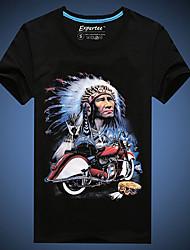 Informell/Niedlich/Party/Business Rund - Kurzarm - MEN - T-Shirts ( Baumwolle )