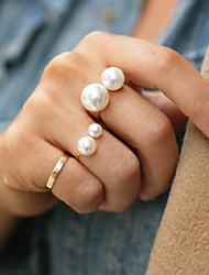cheap -Women's Statement Ring Gold Silver Pearl Alloy Fashion Adjustable Party Costume Jewelry