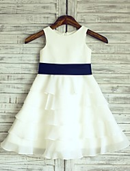 cheap -A-Line Knee Length Flower Girl Dress - Chiffon Satin Sleeveless Scoop Neck with Sash / Ribbon by LAN TING BRIDE®