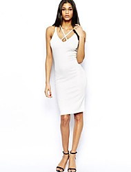 cheap -Women's Chic & Modern Bodycon Dress - Solid Colored, Backless Criss-Cross