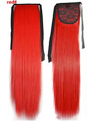 abordables -Corte Recto Sintético Pedazo de cabello La extensión del pelo 18 pulgadas Rojo