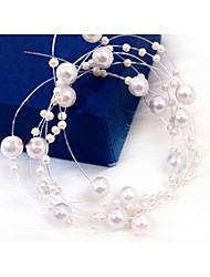abordables -casco de cadena de perlas de imitación estilo femenino clásico