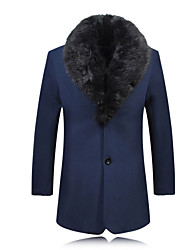 cheap -Men's Long Sleeve Plus Size Big Fur Collar Thick Wollen Trench coat