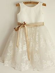 Princess Knee Length Flower Girl Dress - Lace Satin Sleeveless Scoop Neck with Ribbon by thstylee