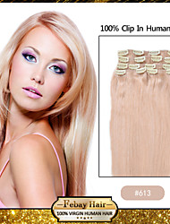 Clip In Remy Human Hair Extensions Blonde(#613) 8pcs/Pack