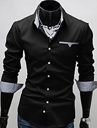 levne -Pánské Jednobarevné Denní nošení / Pracovní / Formální Dlouhý rukáv Polyester Košile Černá / Červená / Bílá