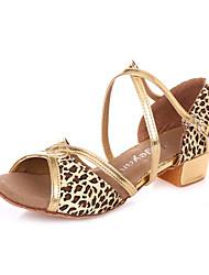 Children's Dance Shoes Sandals Satin Chunky Heel Leopard/Fuchsia