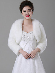 cheap -Long Sleeves Faux Fur Wedding Fur Wraps Wedding  Wraps With Feathers / Fur Coats / Jackets