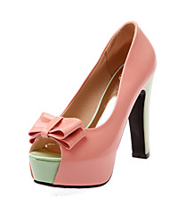 Women's Sandals Basic Pump Summer PU Wedding Dress Party & Evening Office & Career Bowknot Buckle Chunky Heel White Green Blushing Pink