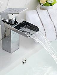 Moderne Centersat Vandfald Keramik Ventil Et Hul Enkelt håndtag Et Hul Krom , Håndvasken vandhane