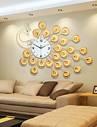 cheap -Modern Style Creative Golden Super Big Peacock Mute Wall Clock