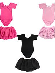 baratos -Menina de Vestido Sólido Todas as Estações Algodão Manga Curta Preto Rosa claro Vermelho Escuro