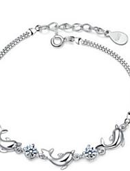 Недорогие -женские дельфины аметист стерлинговый серебряный браслет цепи элегантный стиль