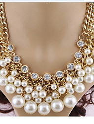 cheap -Women's Pearl Imitation Diamond Pearl Necklace Layered Necklace Statement Necklace - Multi Layer Cross Necklace For Party