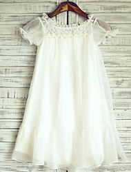 cheap -Princess Knee Length Flower Girl Dress - Chiffon Lace Short Sleeves Jewel Neck with Lace by LAN TING BRIDE®