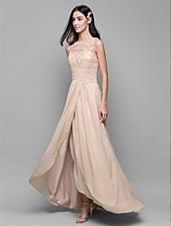 A-Line Bateau Neck Asymmetrical Chiffon Lace Bridesmaid Dress with Lace Criss Cross by LAN TING BRIDE®