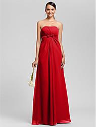 Sheath / Column Strapless Floor Length Chiffon Bridesmaid Dress with Bow(s) Draping Sash / Ribbon Side Draping by LAN TING BRIDE®
